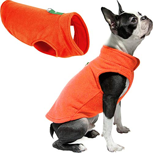 Gooby Dog Fleece Vest - Pumpkin, Medium - Pullover Dog Jacket with Leash Ring - Winter Small Dog Sweater - Warm Dog Clothes for Small Dogs Girl or Boy for Indoor and Outdoor Use