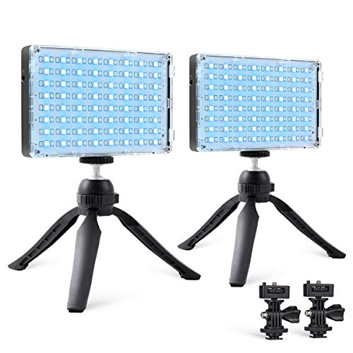 GVM RGB Camera Light, 2 Packs Led Video Light Panel with APP Control, LED Camera...