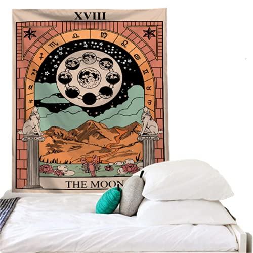 YYRAIN Adornos De Pared De Patrón Impreso De Estilo Retro De Tarjeta De Tarot Adornos De Pared De Dormitorio Tapiz 37x28 Inch {95x73cm}