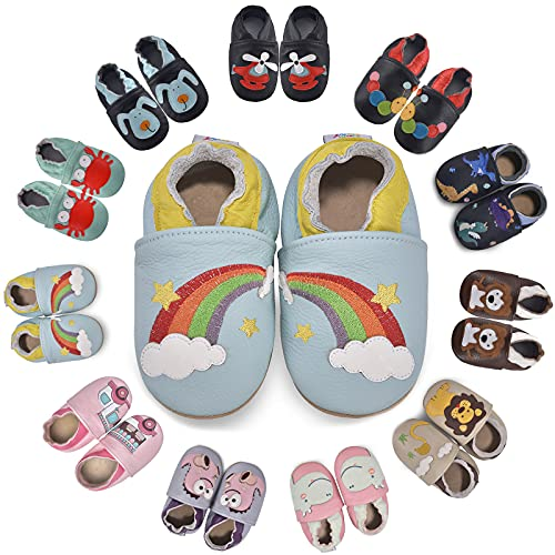 MARITONY Baby Krabbelschuhe Mädchen Jungen Lauflernschuhe Weicher Leder Babyschuhe rutschfest Wildledersohlen Baby Hausschuhe, Rainbow 12-18 Monate