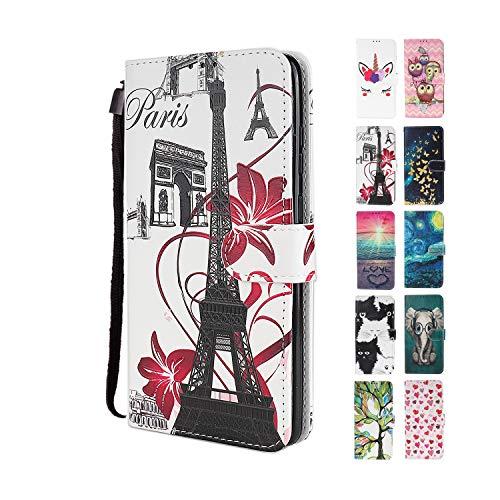 UCool für Apple iPhone 7 8 SE 2020 Hülle PU Leder Flip Klappbar Lederhülle Schutzhülle 3D Eiffelturm Bunt Muster Wallet Cover Flip Hülle Handyhülle mit Kartenfach Tasche Etui