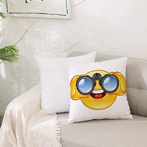 Zierkissenbezug- ohne Füllung-Emoji, Smiley-Gesicht mit einer Teleskop-Fernglas-Brille, die drauße,Zierkissenhülle Dekorative Kissenbezug Dekokissen Kissenhülle mit Verstecktem Reißverschluss 50x50 cm