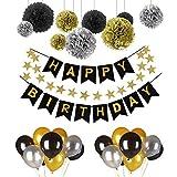 POMISTY Deko Geburtstag, Geburtstag Dekoration Set, Happy Birthday Dekoration 41 Stücks mit 9 Tissue Papier Pom Poms + 30 Große Geperlte Ballons + 1 Happy Birthday Banner(Schwarz und Gold)