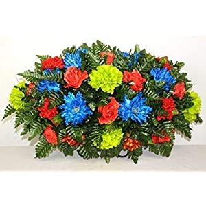 XL Spring Artificial Silk Flower Cemetery Tombstone Grave Saddle