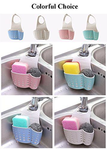 4-Pack Double Layer Kitchen Sink Storage Basket with Adjustable Strap for Hanging Sponge Soap Brush Peeler and Other Gadgets (All-4-Colors)