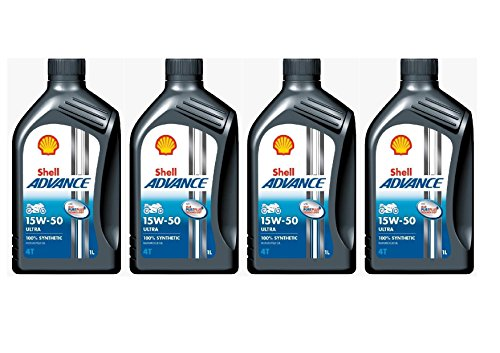 15 W-50 Shell Advance 4T Ultra Pack de 4 x Botellas de 1 l 100% de aceite sintético de motor