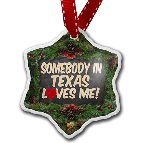 Adornos colgantes de cerámica con forma de corazón, alguien en Texas Loves Me, Estados Unidos, divertidas decoraciones de árbol de Navidad y regalo