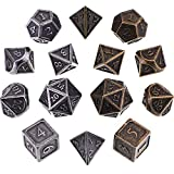 Jovitec 14 Pieces Metal Solid Zinc Alloy Game D&D Dices Set Durable Polyhedral Dice with Printed Numbers and Velvet Storage Bags for Game, Dungeons and Dragons, RPG, Math Teaching (E)