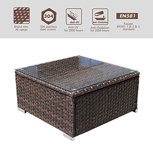 DIMAR garden Outdoor Coffee Table Wicker Patio Furniture Conversation Set Lawn Garden Tea Table Rattan Patio Coffee Tables with Glass Top (Mix Brown 25.2in)
