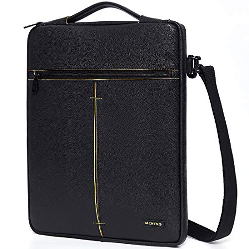 MCHENG Waterdichte Bussiness Laptoptas 14 inch Notebooktas Laptophoes Aktetas Tablet tas Schoudertas voor MacBook Lenovo Dell Toshiba HP ASUS Acer Huawei Fujitsu, Zwart
