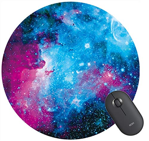 Customized Round Blue Purple Galaxy Mouse Mat pad Gaming Mouse pad Office Mousepad Nonslip Rubber Backing,7.87'X7.87' inch