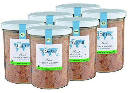 BIOPUR Bio Hundefutter Rind, Nudeln & Karotten für Hunde 6x400g
