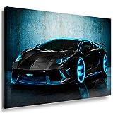 Lamborghini Blau Neon Leinwandbild / LaraArt Bilder /
