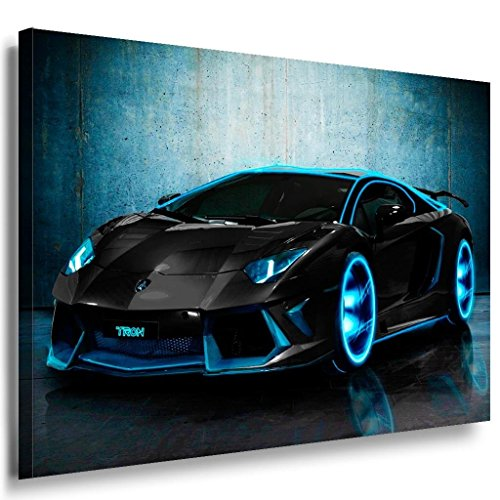 Lamborghini Blau Neon Leinwandbild / LaraArt Bilder / Leinwand Bild + Mehrfarbig + Kunstdruck a17-1 Wandbild 40 x 30 cm