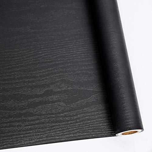 Black Wood Peel and Stick Paper 11.8' X 78.7' Decorative Self-Adhesive Film for Furniture Surfaces Easy to Clean Thickening Upgrade Increase Stomata and Reduces Bubble Generation