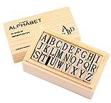 Wooden Rubber Stamp Alphabet,Dedoot 26 Pcs Vintage Wood Capital Letter Stamps for Card Making DIY Craft Scrapbooking