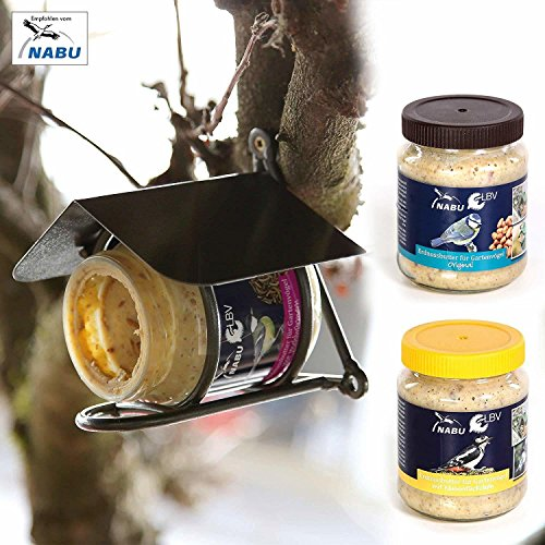 CJ Wildlife Erdnussbutterglashalter 'Wicklow' inkl. 2X Erdnussbutter für Vögel | tolles Set für die Ganzjahresfütterung | einfache Montage an Bäumen oder Wänden