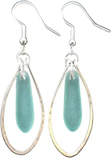 """product image for Handmade in Hawaii, Hammered Wire Loop Aqua sea glass earrings,""""March Birthstone"""", (Hawaii Gift Wrapped, Customizable Message)"""