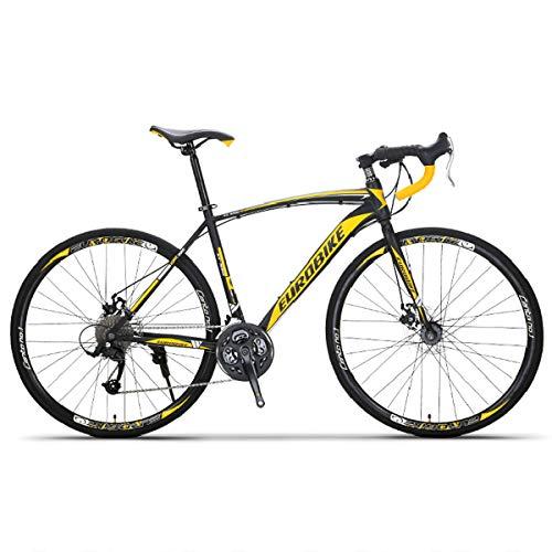 26 Zoll 700C Rennrad Herren Straßenrennrad, 21 Gang-Schaltung Ultraleichtes Rennrad Road Bike, Carbon Steel Rahmen Und Doppelt Scheibenbremse, Unisex Für Herren