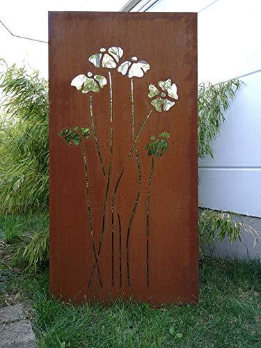 Zen Man Edelrost Garten Sichtschutz aus Metall Rost Gartenzaun Sichtschutzwand H150*75cm 031925-1