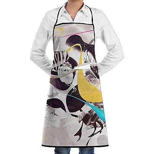 Niet te gebruiken barbecueschort, schort met slabbetje, verstelbare kookschort, keukenschort, surrealistische schildering, riemschort, waterdichte schort voor dames