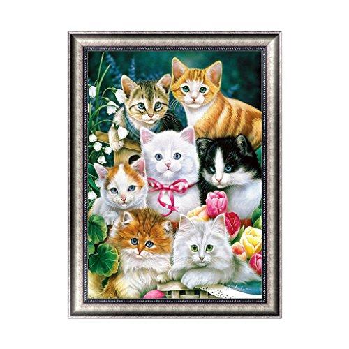 Buybuying Cute Cats DIY 5D Diamond Embroidery Painting Cross Stitch Kit Wall Art Decor Handmade Gift Set