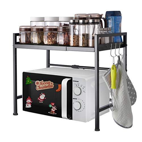 Extendable Microwave Oven Rack Shelf stand with 2 Tiers Storage Shelving Unit - Expandable Length &...