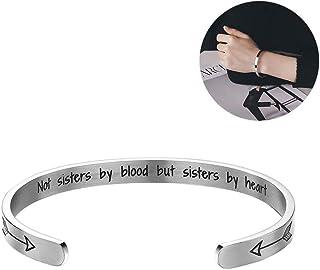 estilo A Navidad Pulsera de serpiente ajustable Yongui para mujer grabada con texto en ingl/és /«Not Sisters by Blood but Sisters by Heart Jewellery adolescente cumplea/ños