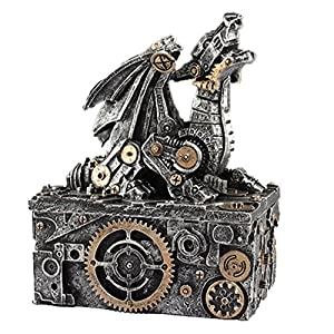 LCM Steampunk Dragon Box Silver, Gold trim. 5.5″ Tall X 4″ Wide X 3″ Deep SU51