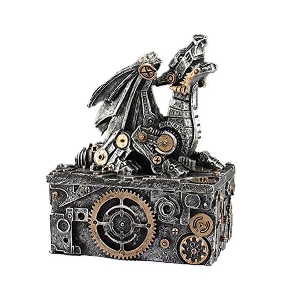 "LCM Steampunk Dragon Box Silver, Gold trim. 5.5"" Tall X 4"" Wide X 3"" Deep SU51 3"