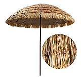NZKW Sombrilla de Paja para Exteriores, Sombrilla de Playa portátil Plegable, Sol y Sombra, Sombrilla de jardín Tropical Hawaii, Verano, 2.5M, Color Natural, Piscina