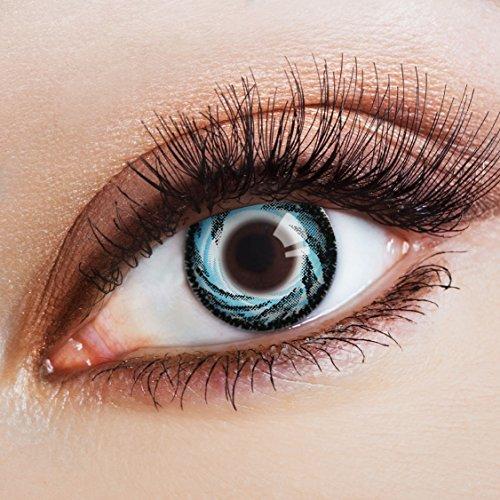 aricona Kontaktlinsen - Blau-schwarze Kontaktlinsen ohne Stärke - Farbige Kontaktlinsen Motivlinsen mit Wirbelsturm-Optik, 2 Stück