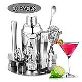Velaze 10-TLG Cocktail Shaker Set, Edelstahl Cocktail Mixer für Zuhause Bar, Silber