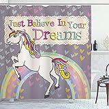 ABAKUHAUS Duschvorhang, EIN Einhorn mit Just Belive in Your Dreams Inspirierende Zitate Illustration Digital Druck, Blickdicht aus Stoff inkl. 12 Ringe für Das Badezimmer Waschbar, 175 X 200 cm