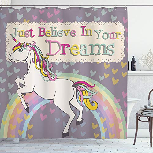 Ambesonne Feminine Shower Curtain, Unicorn with Believe in Your Dreams Words Illustration, Cloth Fabric Bathroom Decor Set with Hooks, 70' Long, Beige Lilac