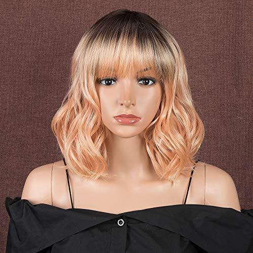 Style Icon Peluca de 11 pulgadas, Bob peluca sintética ombre rubio naranja corto ondulado calidad pelucas con flequillo pelucas para mujeres de aspecto natural resistente al calor fibra