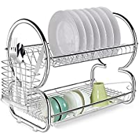 Anfan 2-Tier Dish Drying Rack with Drainer Tray & Cutlery Holder