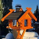 Darlux Comedero para pájaros rectangular hecho a mano, tamaño XL, de madera,...