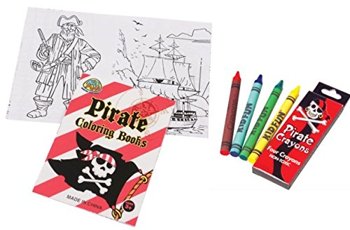 Mini Pirate Coloring Set- 12 Mini Pirate Coloring Books and 12 Boxes of Pirate Crayons