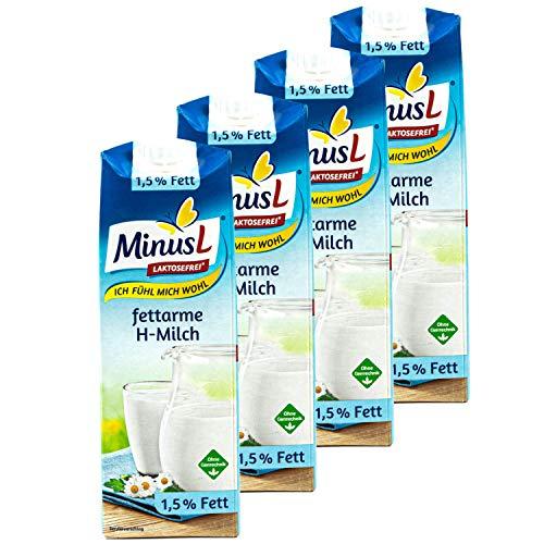 MinusL - 4er Pack Laktosefreie fettarme H-Milch 1,5% Fett (Kuhmilch á 1 Liter) - Milch laktosefrei und fettarm für Menschen mit Laktose- Intoleranz (Voller Genuss)