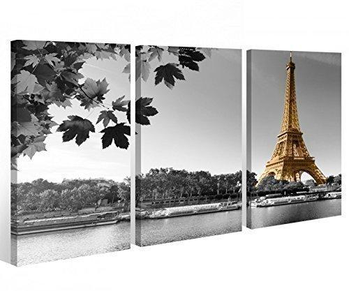 myDruck-Store Leinwand 3 TLG. Paris Eiffelturm schwarz weiß Skyline Stadt Bild Wandbild 9A341 Holz - fertig gerahmt - direkt von Hersteller, 3 TLG BxH:120x80cm (3Stk 40x 80cm)
