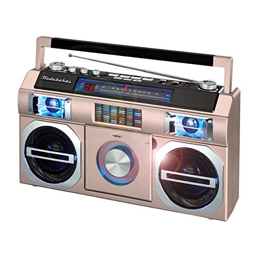 Studebaker SB2145RG 80's Retro Street Bluetooth Boombox with FM Radio, CD Player, LED EQ, 10 Watts RMS Power and AC/DC (Rose Gold)