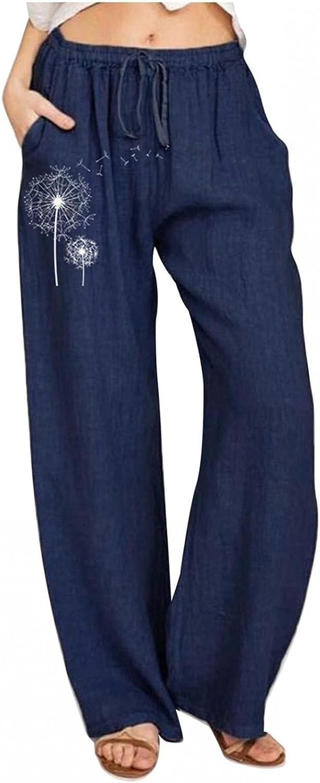 YUNDAN Women Bohemian Yoga Pants Loose Comfy Linen Wide Leg Trouser Fashion Floral Print Elastic Waist Workout Sweatpants