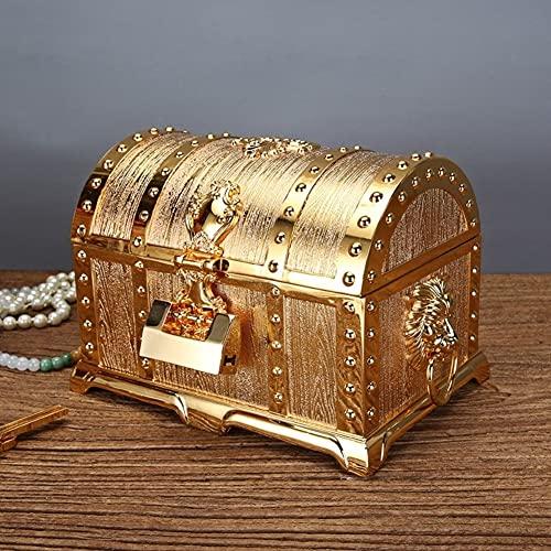 Joyero para mujer, cajas decorativas para regalos, caja de tesoro de múltiples capas de metal con cerradura, caja de almacenamiento de joyería pirata, el mejor regalo para niñas y mujeres