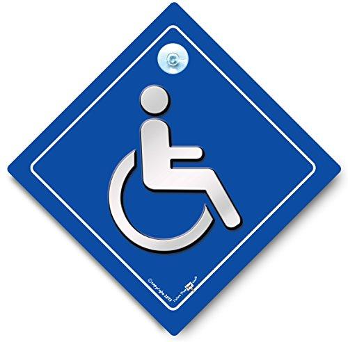 Rollstuhl-Schild, Fahrer mit Behinderungen, Autoschild, Behindertenabzeichen, Behinderten-Autofensterschild, mit Saugnapf, blauer Ausweishalter, Rollstuhlfahrer
