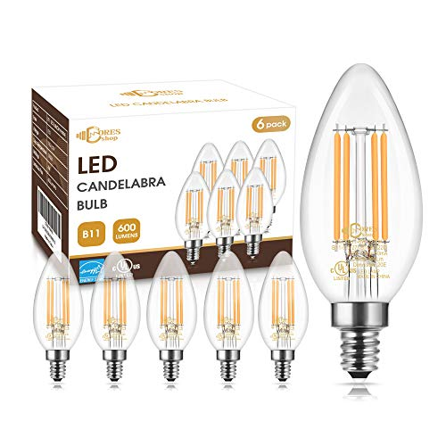 Dimmable B11 LED Chandelier Light Bulbs 60W Equivalent, DORESshop 6W Vintage Edison LED Filament Candle Bulbs for Ceiling Fan, 600Lumens, E12 Base, 2700K Warm White, UL & Energy Star Listed, 6Pack