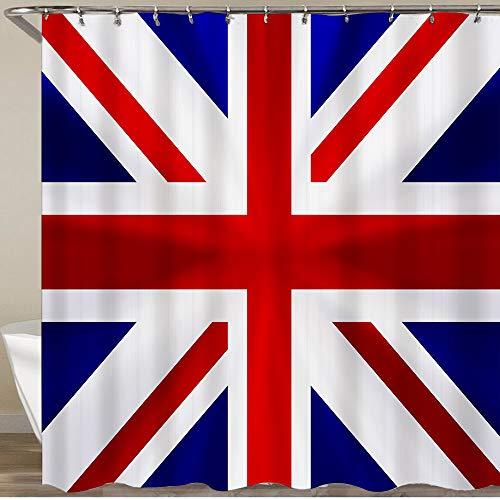 COFEIYISI Neueste Duschvorhänge Duschvorhang Mit Haken Union Jack Flagge Großbritannien Wasserdicht Bad Vorhang...