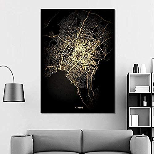 XIANGLL Città di Atene Nero Oro Mappa della Città del Mondo Poster Immagini Stampa su Tela Stile Nordico Wall Art Quadri su Tela per la Decorazione Domestica Senza Cornice -28x40_inch (70cmX100cm)