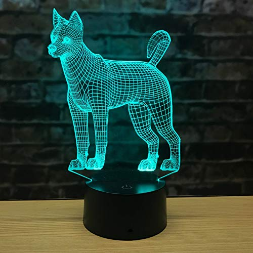Dog Husky 3D Night Lamp Touch Remote Control Charging USB Led Night Light Seven Color Atmosphere 3D Table Lamp