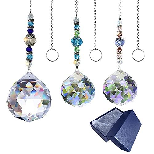 Sonnenfänger Kristall, KUWAN Sonnenfänger Fenster Deko,Kristalle Deko Anhänger Garten Dekoration Regenbogen Hersteller Kolibri Kristall mit blauen Geschenkboxen